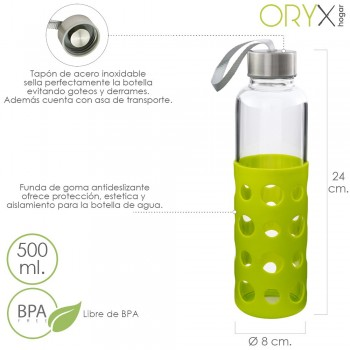 Glass Water Bottle with...