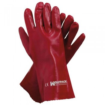 Red PVC Gloves 35 cm.